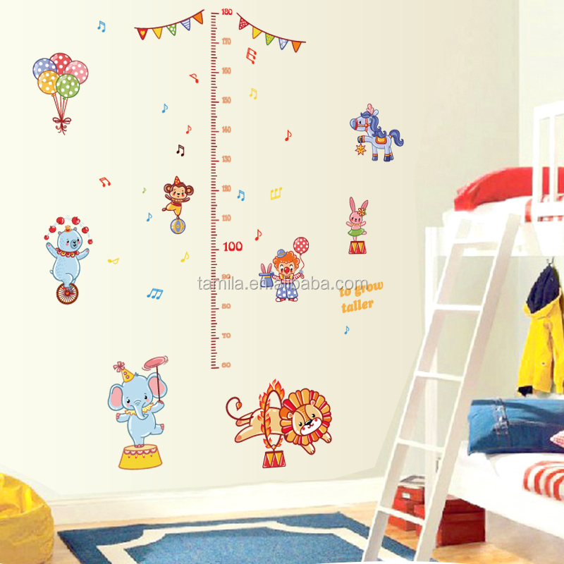 The circus troup cartoon animals children's height growth chart wall sticker DIY decorative kids room wall decal