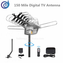 VHF/UHF 40-890MHz outdoor tv antenna 150 miles hdtv digital tv remote controlled rotating antenna 360 degree rotation