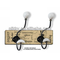 Retro hooks with glass knobs, Wholesale retractable coat hooks