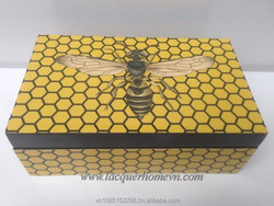 Vietnamese lMDF lacquer box organizer with paper printing, high quality, direct supply