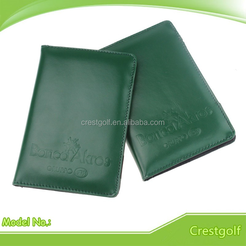 Genuine leather Golf Scorecard Holder with Emboss Logo