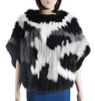 Fashion knitted fur coat/real fox fur coat women/quality rex rabbit fox fur knitted coat KZ150094