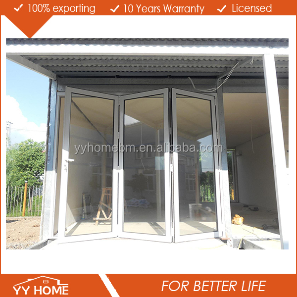 Yy Home Used Exterior Double Glass Aluminium Folding Bi Fold Accordion Doors