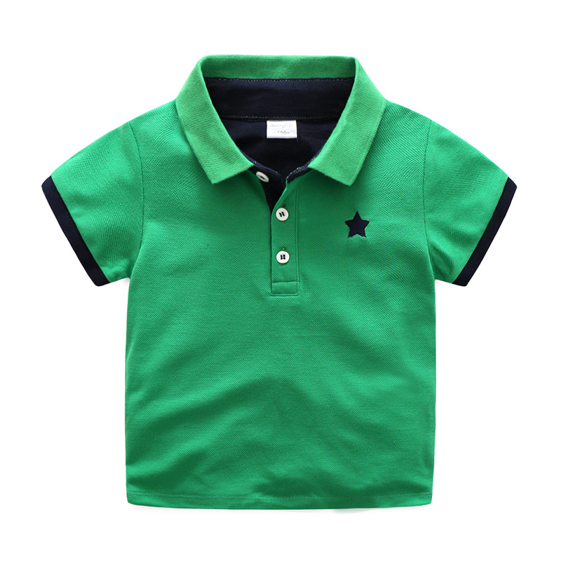Kids polo shirt embroidered cheap boys clothes below 1 dollar 0- 3 age plain blank green shirt