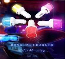 Dual Port USB LED Car Charger 5V 3.1A Rose Flower Car Chargers