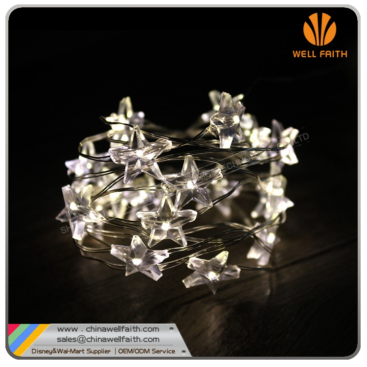 Ultra Thin Silver Wire Patio Star Shape LED String Lights