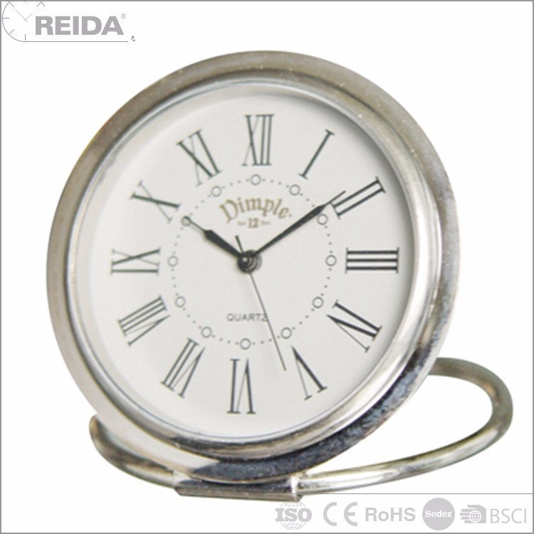 Factory analog table roman numeral quartz metal small alarm clock