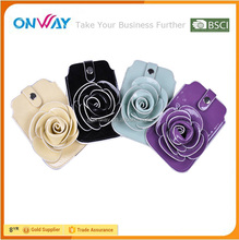 Beautiful flower decorated synthetic leather small cell phone case for Samsung