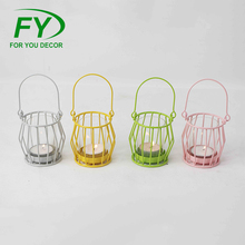 ML-2719 High Quality Cheap New Fashion Wedding Decoration Colorful Decorative Candle Lantern In Metal