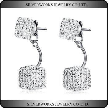 New Wedding Jewelry 925 Sterling Silver Clear CZ Square Stud Earrings