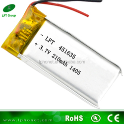 made in china factory 451635 3.7v 210mah lipo battery used ups batteries