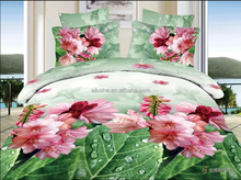 china factory green bedspread pink flower 3d printed polyester comforter printed duvet cover set