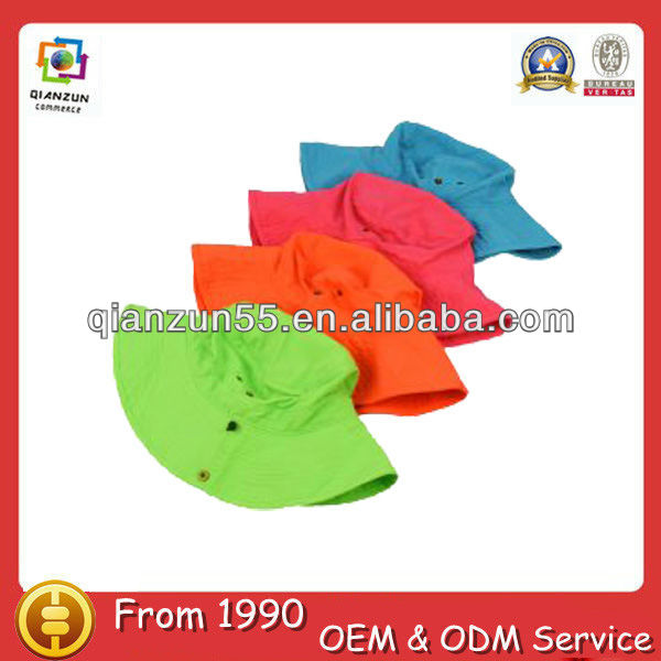 colorful roll up 100% cotton baby children's kids plain bucket hats