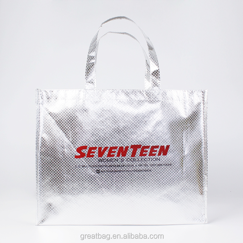 custom metallic silver Lamination non woven reusable shopping tote bags