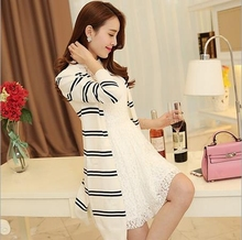 Top fashion apparel latest design spring trend long sleeve stripe knit loose tops long women thin coat