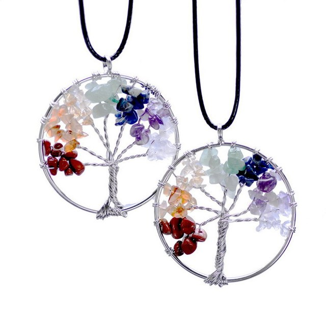 Life of Tree  Necklaces 7 Chakra Stone Beads Natural Citrine Amethyst Agate Pendant Necklace Leather Chains Christmas Gifts