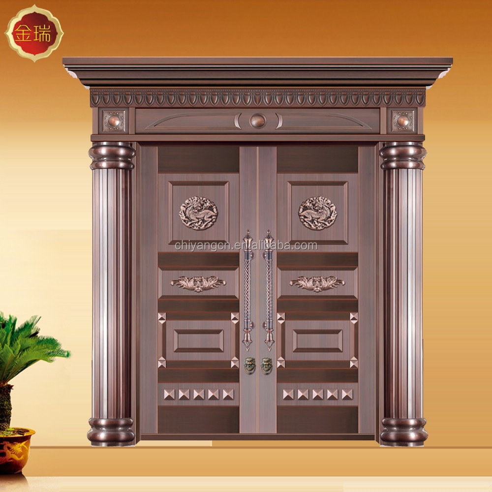 copper surface steel front door made in China