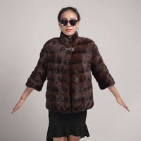 winter outwear S to XXXL stand collar 41cm long sleeves Covered Button brown black color regular length real mink fur coat