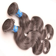 Unprocessed grade 5A mixed gray human hair weave, hot sale top quality black to silver ombre hair extensions