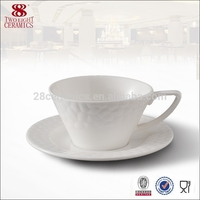 Eco-friendly tableware , embroidery white coffee cup with tary for wholesale