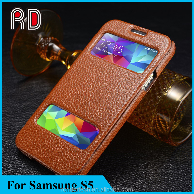 Best products for import Flip Folio Genuine Leather case for Samsung Galaxy S5 with Double window