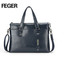 FEGER brand genuine leather cow hide man laptop bag