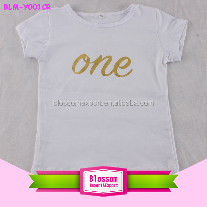 Custom fashion printed Children T-Shirts white first birthday clothing unisex custom printed baby t shirts