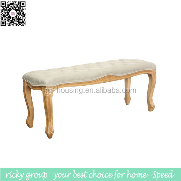 Antique upholstered backless wooden bench chair RQ10061-3