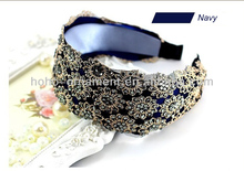 Luxury navy lace headband for adults with rhinestone
