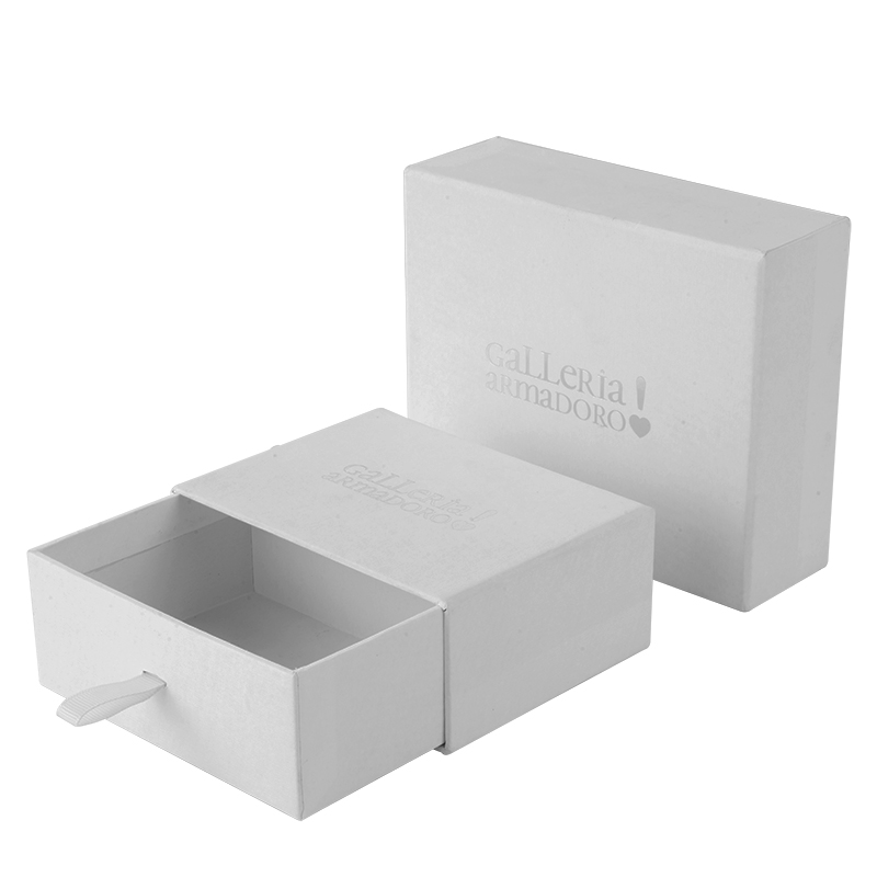 Eco friendly slide pull out jewellery paper packing drawer sliding earring jewelry box for wedding ring with custom logo