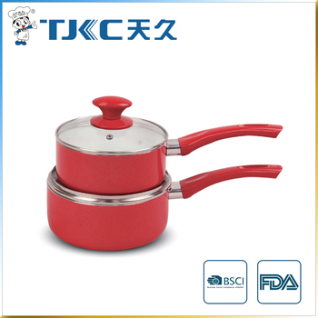 Ceramic Sauce Pan with Glass Lid and Red Painted Handle