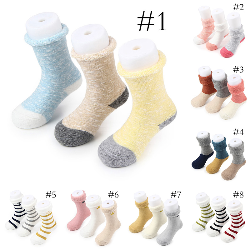 New arrival 8 designs 3 pairs one set 100% cotton friendly cotton baby socks