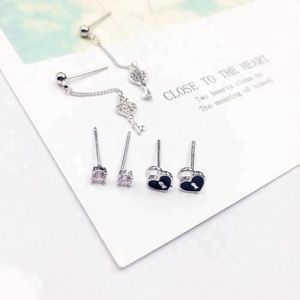 925 Silver Needle Key Zircon Drop Earrings Women Fashion Korean Heart Stud Earring Set Jewelry Wedding
