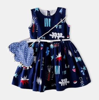 C80235B 2018 summer new fashion hot girl's pure cotton print princess dress vest