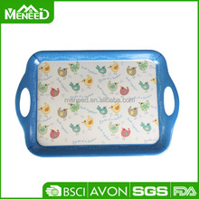Blue funny chicken printed non-slip plastic serving snack tray with handle