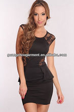 2013 new fashion Black Floral Lace Mesh Peplum Dress bodycon dress