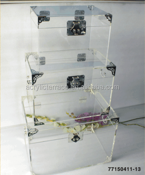 Lucite Acrylic Trunk Acrylic Chest with leaf handle