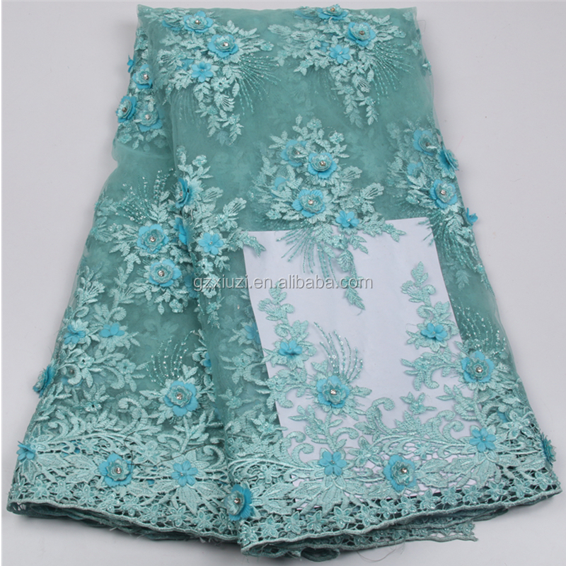 Europe Dress Style XZLACE Mint Green Beaded Lace 3d Flower Embroidered French Tulle Lace Fabric