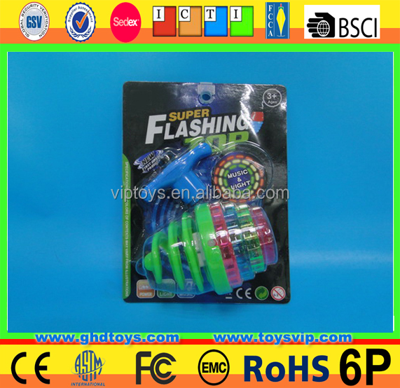 wholesale led flash bounce gyro spring spinning top five lights with music