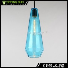 Promotional price 7 Colors wire suspended retro glass pendant light