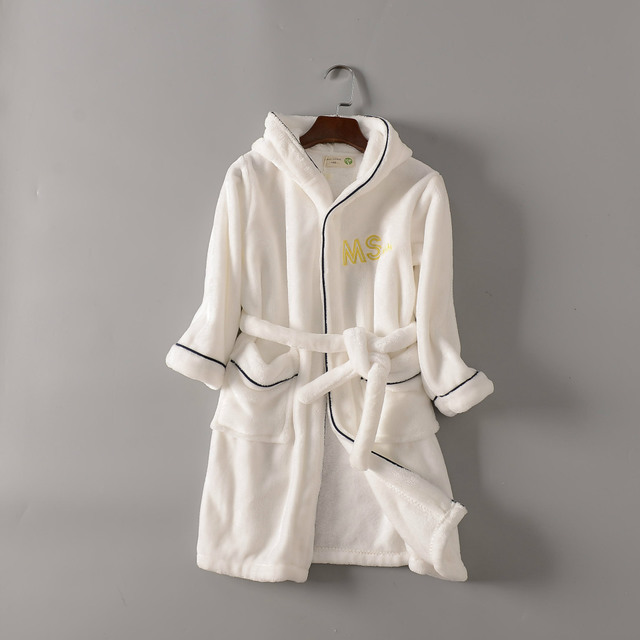 china suppliers kids bathrobe Navy blue and white Solid color fleece bathrobe