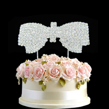 Delicate clear diamante girls Bowknot cake topper party decoration rhineatone cake topper