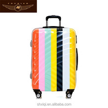 Multicolor stripe ABS + PC travel luggage /trolley luggage