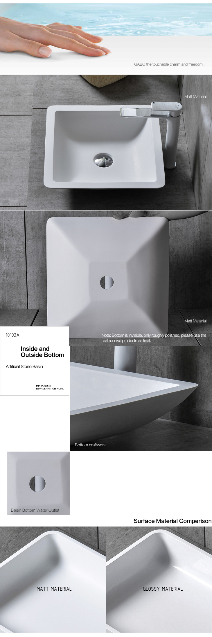 White square above-counter basin for sale