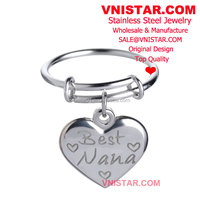 "Cheap Wholesale Vnistar ""Best Nana"" heart charm stainless steel rings CR019, icustom expandable ring"