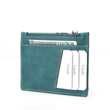 Brown pu leather Slim credit card wallet with coin pocket money wallet for men and <strong>woman</strong>