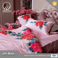 100 PURE SILK PINK COLOR HAND PAINT BEDDING SET WITH PEONY FLOWER
