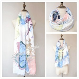 Big butterfly stole bright blue soft scarf