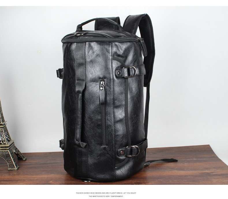 In The Middle Luggage Size Barrel Shape Leather Backpack For Male