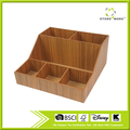 6 Compartment Wood Desktop Office Supply Caddy